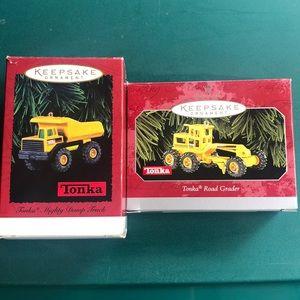 Two Tonka Truck Hallmark Keepsake ornaments